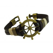 Antique Nautical Sailor's Wheel Badge Brown Genuine Leather Bracelet for Men