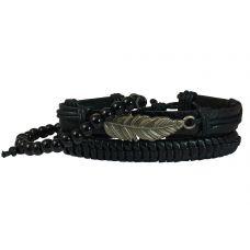 Metallic Leaf Badge Set of 3 Bracelets for Men