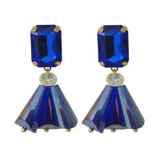 Indigo Crystal Teardrop Party Earrings for Women