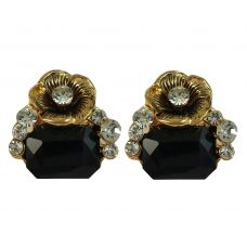 Bold Black Crystal Stone and Golden Rose CZ Embellished Party Earrings for Women