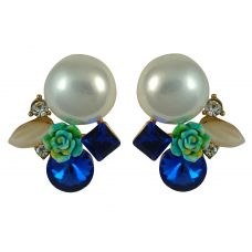 Rose and Pearl Delightful Exclusive Crystal Multicolor Drop Earrings for Women