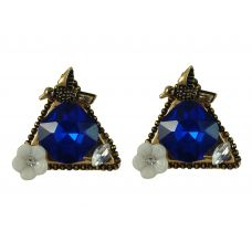 Trendy Triangle Birdie Blue Crystal Fancy Earrings for Women
