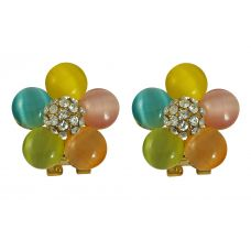 Multicolor Resin Pearl Floral Earrings for Women
