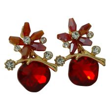 Red Floral Pattern Crystal Drop Party Earrings for Women