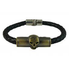 Skull Badge Braided Leather Sleek Bracelet for Men