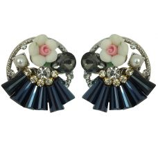 Delightful Bouquet White and Oxford blue Fancy Party Earrings for Women