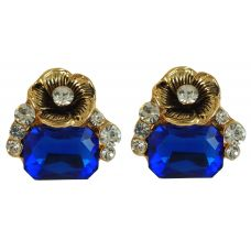 Bold Indigo Blue Crystal Stone and Golden Rose CZ Embellished Party Earrings for Women