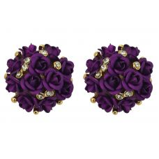 Wine Purple Tiny Roses bouquet Exclusive Party Earrings for Women