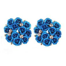 Gloss Sky Blue Tiny Roses bouquet Exclusive Party Earrings for Women