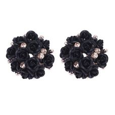 Night Black Tiny Roses Bouquet Exclusive Party Earrings for Women