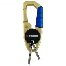 Steel Carbiner Two Rings Gold-Blue Omuda Keychain for Car and Home Keys