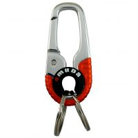 Steel Carbiner Two Rings Silver-Orange Omuda Keychain for Car and Home Keys
