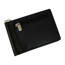 Front Coin Zipper Genuine Leather Money Clip Wallet for Men Black