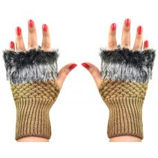 Soft Fur Fingerless Cozy & Warm Winter Gloves for Women (Clay Yellow)