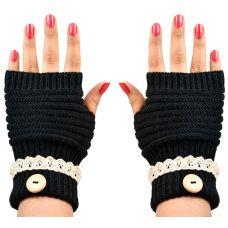Cozy & Warm Fingerless Winter Gloves for Women (Black)