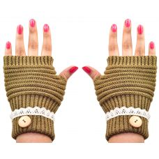 Cozy & Warm Fingerless Winter Gloves for Women (Clay Yellow)