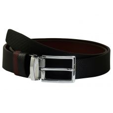 Chrome Plated Silver Finish Alloy Buckle Exclusive Fine Textured Pattern Art Reversible Leather Belt for Men