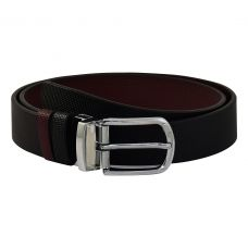 Chrome Plated Silver Finish Alloy Buckle Exclusive Thick Grainy Textured Pattern Art  Reversible Leather Belt for Men