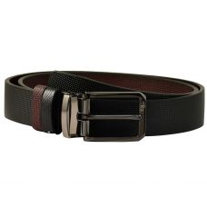 Electro-Black Finish Alloy Buckle Exclusive Thick Grainy Textured Pattern Art  Reversible Leather Belt for Men