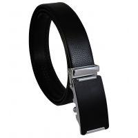 Vertical Chrome Linings Matte Black Luxury Auto-Lock Buckle Genuine Leather Ratchet Belt for Men