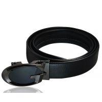 Luxury Dual Tone Black Auto-Lock Buckle Genuine Leather Ratchet Belt for Men