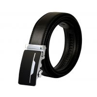 Single Chrome Lining Matte Black Luxury Auto-Lock Buckle Leather Ratchet Belt for Men