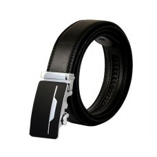 Single Chrome Lining Matte Black Luxury Auto-Lock Buckle Leather Ratchet Belt for Men