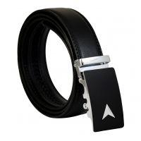 Chrome Arrow Insignia Matte Black Luxury Auto-Lock Buckle Leather Ratchet Belt for Men