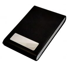 Leather & Steel Vertical Black Visting Credit Debit ID Card Holder
