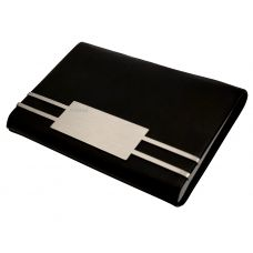 Metallic Stripes Leather & Steel Horizontal Black Visting Credit Debit ID Card Holder