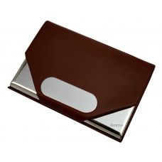 Mars Brown Leather & Steel Vertical Visting Credit Debit ID Card Holder