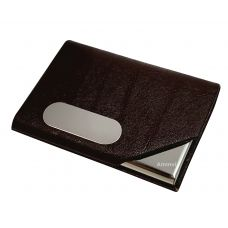 Dark Chocolate Brown Leather & Steel Vertical Visting Credit Debit ID Card Holder