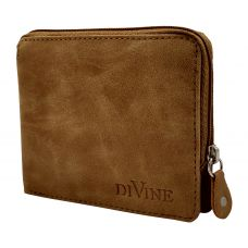 Divine Camel Brown Exclusive Zipper Wallet for Men