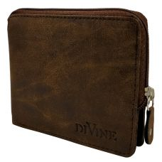Divine Retro Brown Exclusive Zipper Wallet for Men