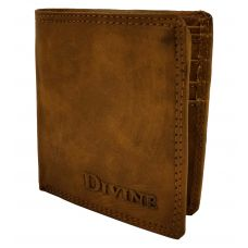Divine Internal Zipper Book-Fold Mustard Brown Wallet for Men