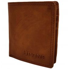 Divine Internal Zipper Book-Fold Tan Brown Wallet for Men
