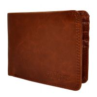 Divine Double Internal Zippers Tan Brown Wallet for Men