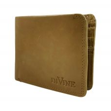 Divine Double Internal Zippers Camel Brown Wallet for Men