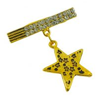 Hanging Star Badge Gold Plated Brooch Lapel Pin for Men