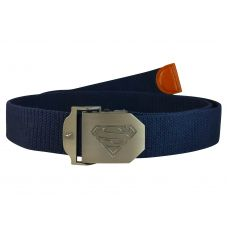 Superman Steel Buckle Free Size Navy Blue Webbed Tactical Canvas Belt for Men