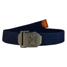Seal of USA  Steel Buckle Free Size Navy Blue Webbed Tactical Canvas Belt for Men