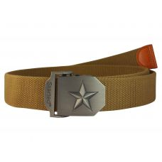 3D Vitruvian Star Steel Buckle Free Size Pastel Khaki Webbed Tactical Canvas Belt for Men