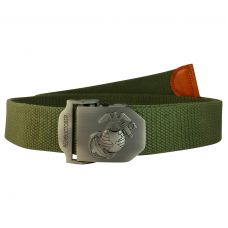 Nautical Emblem Steel Buckle Free Size Moss Green Webbed Tactical Canvas Belt for Men