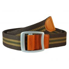 Bypass Buckle Striped Chocolate Brown Free Size Webbed Tactical Canvas Belt for Men