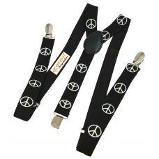 Jet Black Peace Symbol Printed Y back Suspenders for Men
