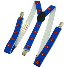 Azure Blue Superman Emblem Playful Y Back Suspenders for Men