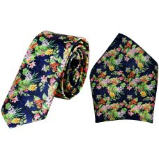 Blessed Blossoms Botanical Print Luxurious Premium Mens Tie Pocket Square Set