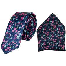 Serene Blue Floral Print Luxurious Premium Mens Tie Pocket Square Set