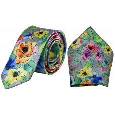 Designer Pastel Floral Print Luxurious Premium Mens Tie Pocket Square Set