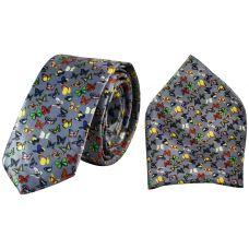 Blessed Butterflies Print Luxurious Premium Mens Tie Pocket Square Set